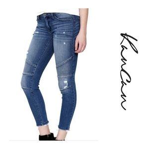 Kancan Distressed Moto Ankle Skinny Jeans